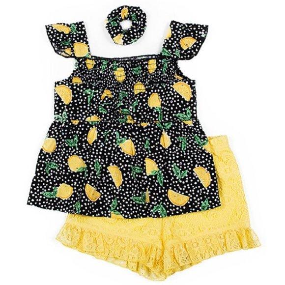Little Lass Other - 3pc LEMONS Tank Lace Shorts Scrunchie Sz 3T NWT
